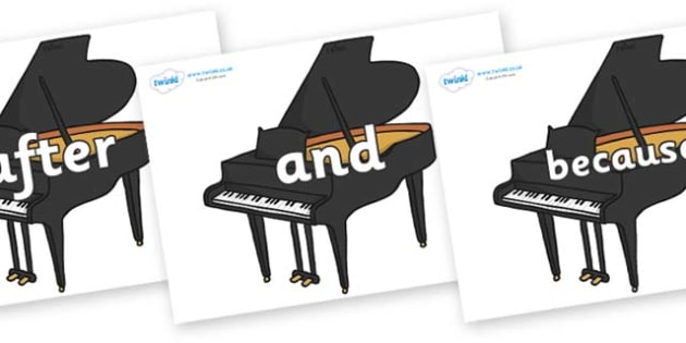 Connectives on Baby Grand Pianos - Connectives, VCOP, connective resources, connectives display words, connective displays