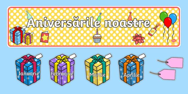 """Zilele de naștere cu tema """"cadouri"""" - Pachet cu materiale editabile"""
