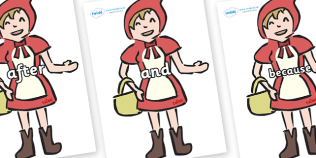 Connectives on Little Red Riding Hood - Connectives, VCOP, connective resources, connectives display words, connective displays