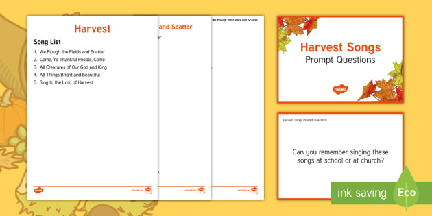 Harvest Song Lyrics - Autumn, Seasons, Display, September, October, November, Leaves, Harvest, Activity Co-ordinators, Sup