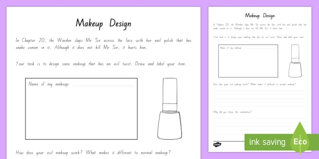 Makeup Design Activity Sheet - New Zealand Chapter Chat, Chapter Chat NZ, Chapter Chat, Warden, Mr Sir, Holes, Years 5-6