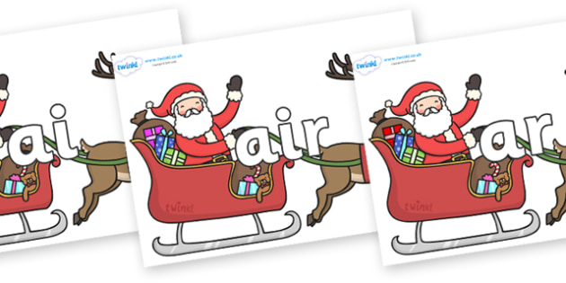 Phase 3 Phonemes on Santa on Sleigh - Phonemes, phoneme, Phase 3, Phase three, Foundation, Literacy, Letters and Sounds, DfES, display
