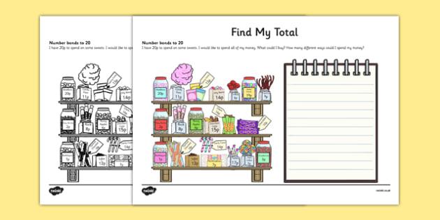 Find My Total (Number Bonds to 20) Activity Sheet, worksheet