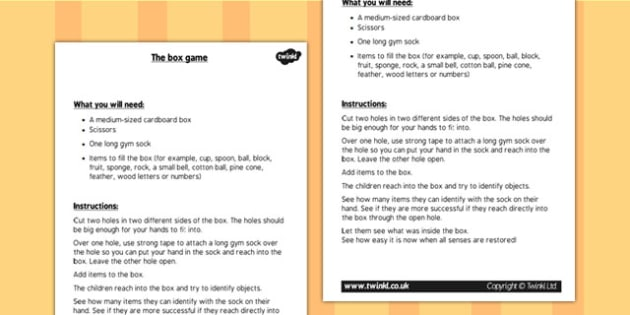 KS1 Science Senses Touch Box Game Instructions - touching game