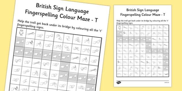 British Sign Language Fingerspelling Colour Maze T - colour, maze