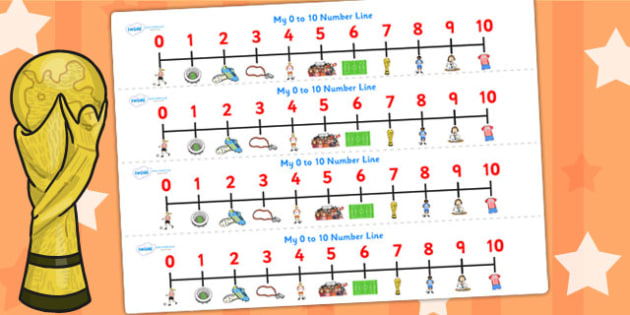 Football World Cup Number Lines pdf 10 - football, sports, number