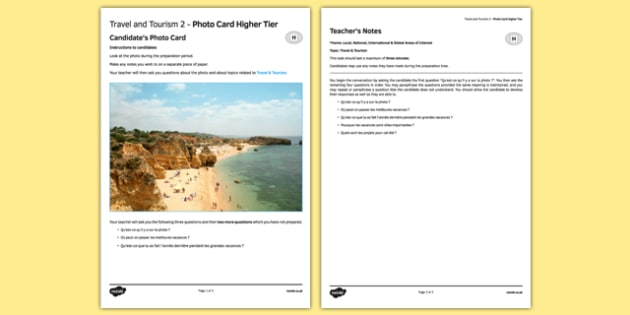 Les voyages & le tourisme 2 Carte photo Higher Tier - french, Travel, tourism, holidays, voyage, tourisme, vacances, photo, picture, card, higher