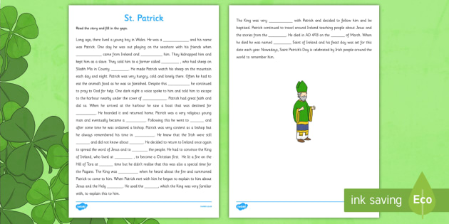 Saint Patrick Cloze Activity Third and Fourth Class - Saint Patrick, cloze, reading, religion, Ireland