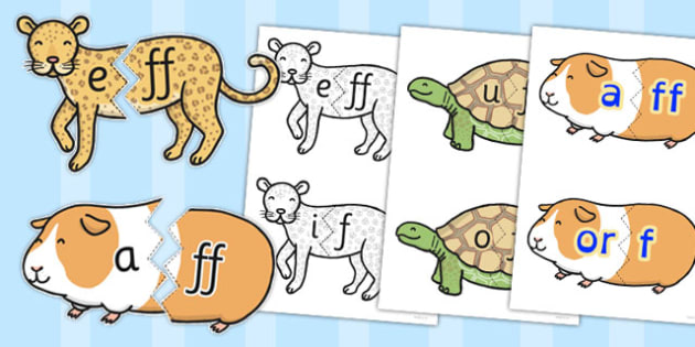 Vowel and Final 'F' Sound Animal Jigsaw - final f, sound, vowel