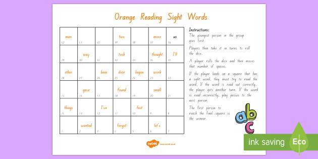 Orange Reading Sight Words Board Game - Literacy, Reading, Orange, Sight Words, Colour Wheel, orange sight words