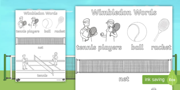 Wimbledon Themed Words Colouring Sheets - sports, sport, tennis