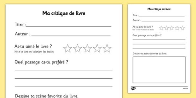 Ma critique de livre - french, book review, book review template, my book review, book report, book report template, reading, reading and writing