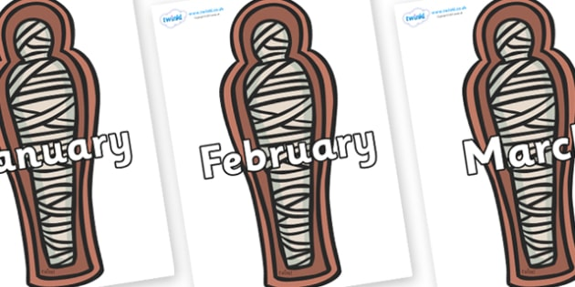 Months of the Year on Mummies (Coffins) - Months of the Year, Months poster, Months display, display, poster, frieze, Months, month, January, February, March, April, May, June, July, August, September