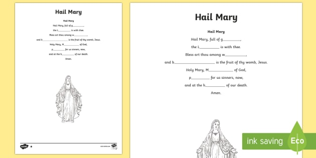 Hail Mary Missing Words Differentiated Activity Sheets-Scottish - CfE Catholic Christianity, prayers, mass responses ,Scottish