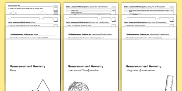 Kindergarten Measuring and Geometry Assessment Pack-Australia