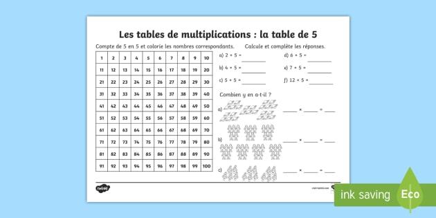 fiche de calcul la table de 5 les multiplications feuille