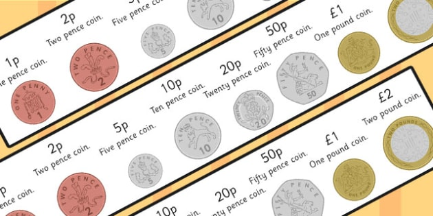 Coin Strips - coins, money, currency, maths, numeracy, visual aid