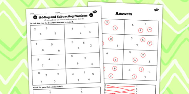 Number Facts to 20 Find Pairs to 8 Worksheet - number, facts