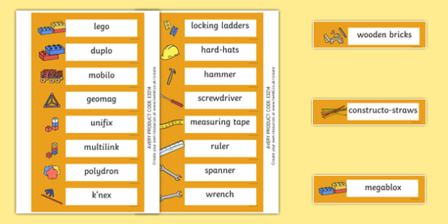 Kingfisher Themed Editable Construction Area Resource Labels - Themed Construction resource labels, Label template, Resource Label, Name Labels, Editable Labels, Drawer Labels, KS1 Labels, Foundation Labels, Foundation Stage Labels