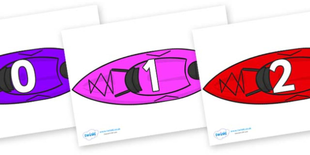 Numbers 0-50 on Canoes - 0-50, foundation stage numeracy, Number recognition, Number flashcards, counting, number frieze, Display numbers, number posters
