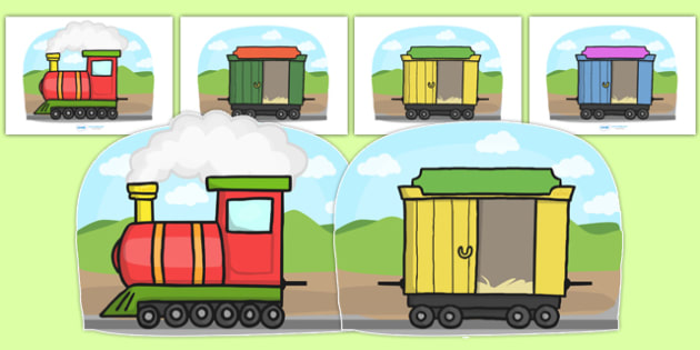 Fully Editable Train and Carriages - Editable Train and Carriages, Display, train, nursery, carriages
