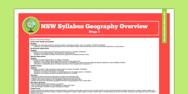 NSW Stage 3 Geography Syllabus Overview - australia, syllabus, nsw