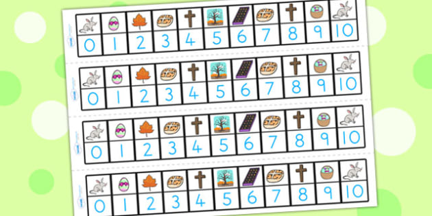 Easter Number Track 1 10 - easter, numeracy, number track, 0-10