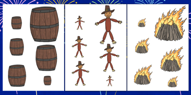 Bonfire Night Size Ordering - bonfire night, size ordering, size ordering activities, size activity, shape activity, size and shape, size, shape, ordering