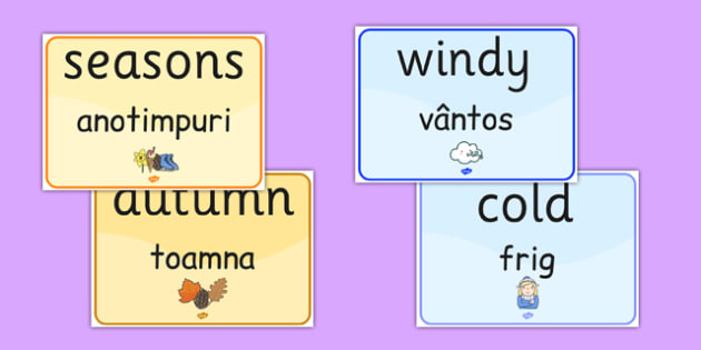 Seasons and Weather EAL Romanian Translation - romanian, season, weather, EAL