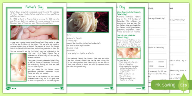 Australia Father's Day Differentiated Comprehension Challenge Sheet-Australia