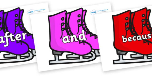 Connectives on Ice Skates - Connectives, VCOP, connective resources, connectives display words, connective displays