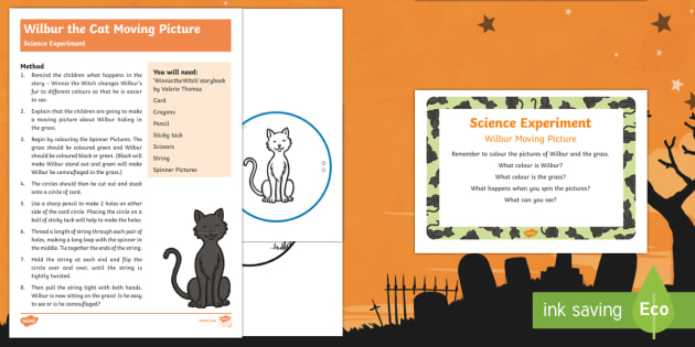 EYFS Wilbur the Cat Moving Picture Science Experiment and Prompt Card Pack