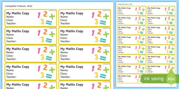 Pupil Maths Copybook Labels-Irish