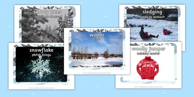 Winter Display Photo Cut Outs Polish Translation - polish, display, photo, cut out