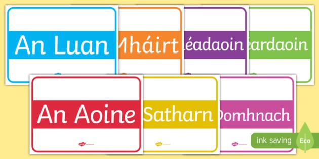 Days of the Week Display Signs Gaeilge - gaeilge, days of the week, display sign, display, sign