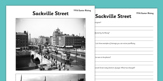 1916 Rising Sackville Street Worksheet - Easter 1916 Rising, irish history, sackville street, worksheet