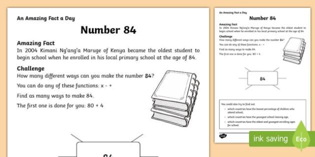 Number 84 Activity Sheet, worksheet