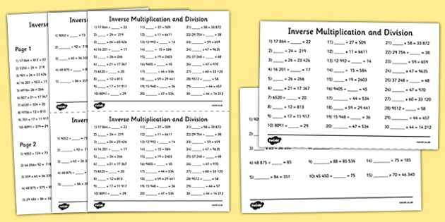 Year 5 To 6 Inverse Multiplication And Division Activity Sheet