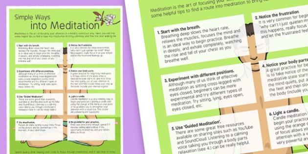 Simple Ways into Meditation - simple, ways, meditation, staff, care, health, stress, calm