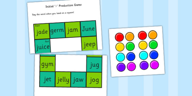 Initial 'j' Production Game - j, vowel, sounds, sound, game