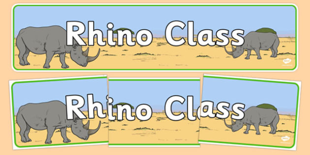 Rhino Themed Classroom Display Banner - Themed banner, banner, display banner, Classroom labels, Area labels, Poster, Display, Areas