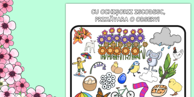 Spring Themed I Spy With My Little Eye Activity Romanian Translation - romanian, activities