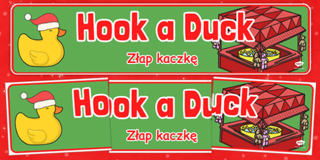 Christmas Themed Hook a Duck Banner Polish Translation - polish, christmas, themed, hook a duck, banner, display