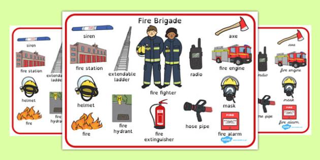 Fire Brigade Word Mat - fire brigade, word mat, word, mat, fire