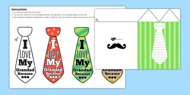 Grandad Flap Tie Card Craft - granddad, flap tie, card, craft, flap, tie