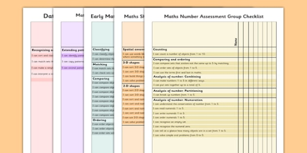 1999 Curriculum Junior Infants Maths Assessment Group Checklist Pack - roi, irish, gaeilge, assessment checklist, maths, junior infants, pack