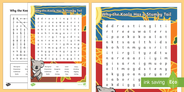 Why the Koala Has a Stumpy Tail Word Search-Australia - Australian, Aboriginal, Dreamtime Stories, word search, find-a-word, activity, fun, spelling, why th