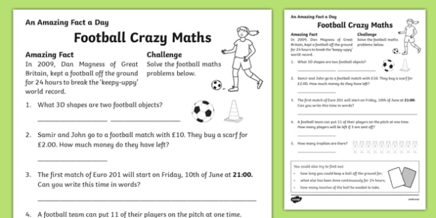 Football Crazy Maths Activity Sheet, worksheet