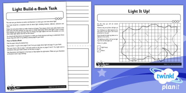 PlanIt - Science Year 6 - Light Unit Home Learning Tasks - planit, science