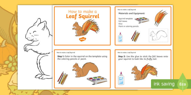 Leaf Squirrel Craft Instructions - usa, america, Autumn, seasons, september, october, topics, ks1, harvest, EYFS, reception, craft, creative, leaves, leaf, squirrel, animal , forest, nocturnal